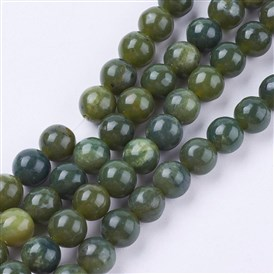 Natural Green Jasper Beads Strands, Round