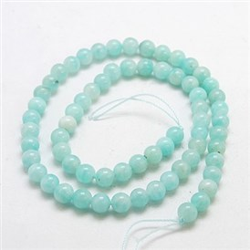 Natural Gemstone Beads Strands, Round, Amazonite, Grade A