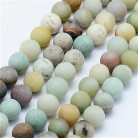 Natural Amazonite Beads Strands, Frosted, Round