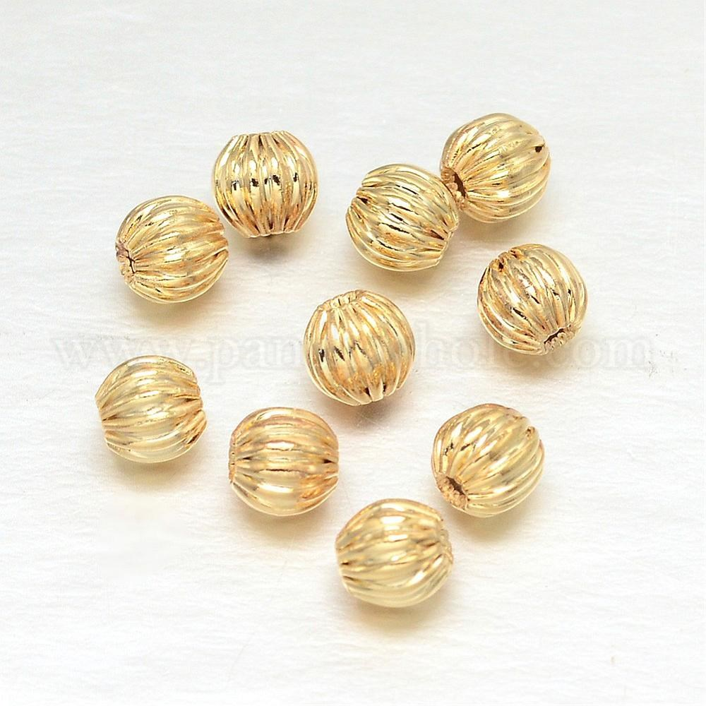 Wholesale Round Real Gold Plating Brass Corrugated Beads