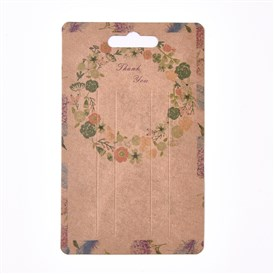 Floral Pattern Paper Jewelry Display Cards, for Hair Accessories Display, Rectangle