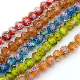 Handmade Gold Sand Lampwork Bead Strands, Faceted, Rondelle