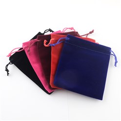 Mixed Color Rectangle Velvet Pouches, Gift Bags, Mixed Color, 15x10cm