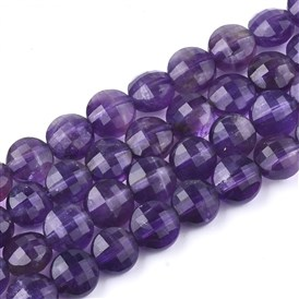 Natural Amethyst Beads Strands, Faceted, Flat Round