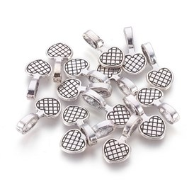 Tibetan Style Alloy Heart Carved Mesh Flat Pad Pendant Bails, Lead Free, 20x10x6mm, Hole: 7mm; about 1070pcs/1000g