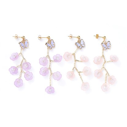 Acrylic Dangle Stud Earring Sets, with Glass Seed Beads, Butterfly Alloy Enamel Charms and Cardboard Boxes, Flower