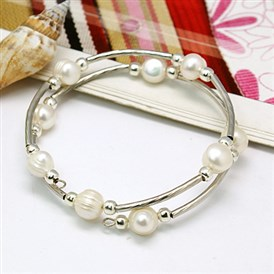Fashion Double Wrap Bracelets, with Grade A Pearl Beads, Brass Tube Beads and Steel Bracelet Memory Wire, 55mm