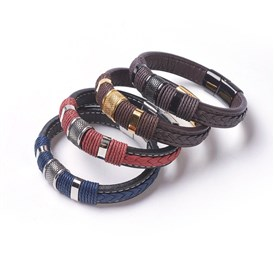 Leather Cord Bracelets, with 304 Stainless Steel Findings and Magnetic Clasps