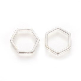 925 Sterling Silver Bead Frames, Carved with 925, Hexagon