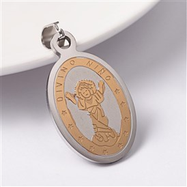 304 Stainless Steel Pendants, Oval with Divino Nino Jesus, Religious, 35x21x2mm, Hole: 9x5mm