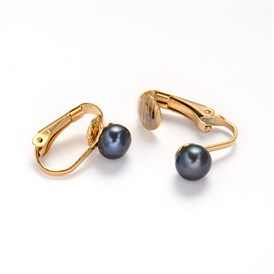 304 Stainless Steel Freshwater Pearl Clip-on Earrings, 16x4x14mm