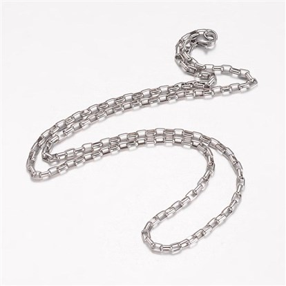 304 Stainless Steel Necklace Makings, Box Chain, with Lobster Claw Clasps-1