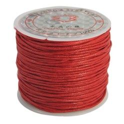 Red Cotton Waxed Cord, Red, 1mm; about 25m/roll