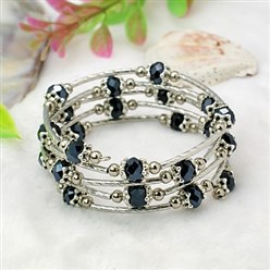Black Fashion Wrap Bracelets, with Rondelle Glass Beads, Tibetan Style Bead Caps, Brass Tube Beads and Steel Memory Wire, Black, Inner Diameter: 55mm