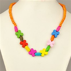 Dark Orange Colorful Wood Necklaces for Kids, Children's Day Gifts, Stretchy, Dark Orange, 18 inches