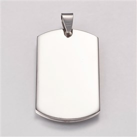 304 Stainless Steel Pendants, Stamping Blank Tag, Rectangle