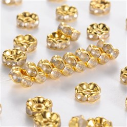 Golden Iron Rhinestone Spacer Beads, Grade B, Golden Color, 10x4mm, Hole: 2mm