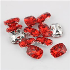 Red Taiwan Acrylic Rhinestone Buttons, Faceted, 1-Hole, Rectangle, Red, 30x21x10.5mm, Hole: 2mm