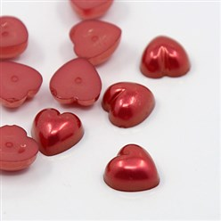 DarkRed Acrylic Imitation Pearl Cabochons, Dyed, Heart, DarkRed, 10.5x10.5x5mm; about 1500pcs/bag