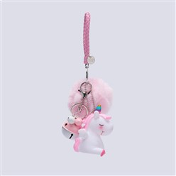 Pink Pom Pom Ball Key Chains, with PU Leather Cord, Alloy Lobster Claw Clasp, Resin and Iron Key Ring and Chain, Unicorn and Bell, Pink, 240mm