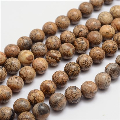 Round Natural Picture Jasper Bead Strands, 6mm, Hole: 1mm; about 65pcs/strand, 15.74""