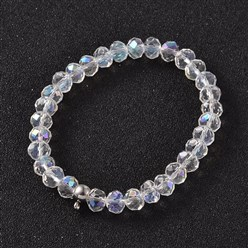 Clear Korean Elastic Thread Glass Beaded Stretch Bracelet Makings, with 304 Stainless Steel Findings, Clear, 55mm