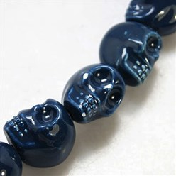 MidnightBlue Handmade Porcelain Beads Strands, Bright Glazed Style, Skull, Halloween, Mixed Color, about 15mm wide, 18mm long, 18mm thick, Hole: 1.5mm