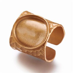 Matte Gold Color Cuff Brass Pad Finger Ring Settings, Size 9, Matte Gold Color, Tray: 15mm; 19mm