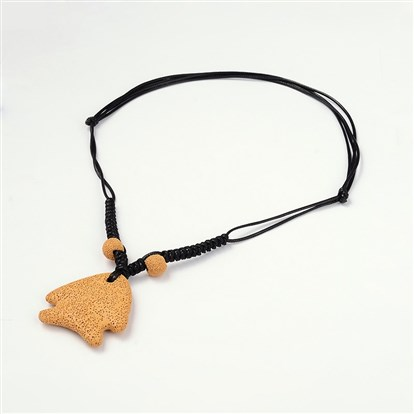 "Fish Lava Pendants Necklaces, with Cotton Wax Cord, 18.5""~32.8""-1"