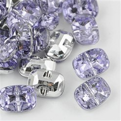 Lilac Taiwan Acrylic Rhinestone Buttons, Faceted, 1-Hole, Rectangle, Lilac, 30x21x10.5mm, Hole: 2mm