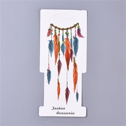 Feather Pattern Paper Jewelry Display Cards, for Hair Accessories Display