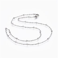 "Stainless Steel Color 304 Stainless Steel Rope Chain Necklaces, with 304 Stainless Steel Beads and 304 Stainless Steel Clasps, Stainless Steel Color, 17.9""(45.5cm); 1.5mm"