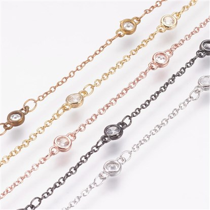 Handmade Brass Cubic Zirconia Chains, Long-Lasting Plated-1