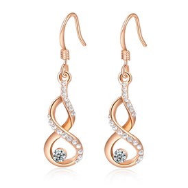 Calabash Real Rose Gold Plated Fashion Alloy Austrian Crystal Dangle Earrings, 39x10mm