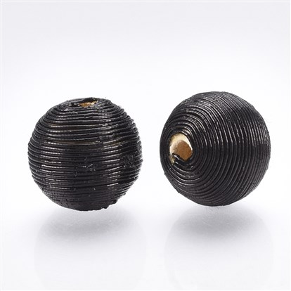 Polyester Cord Fabric Beads, with Wood Inside, Round