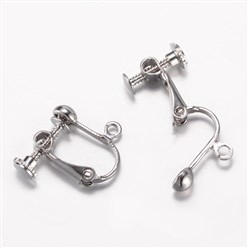 Platinum Brass Clip-on Earring Findings, Lead Free, Platinum, 16x16~17x5mm, Hole: 1.5mm