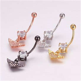 Piercing Jewelry, Brass Micro Pave Cubic Zirconia Belly Rings, with 304 Stainless Steel Pins, Heart with Wing
