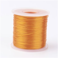 Goldenrod Japanese Flat Elastic Crystal String, Elastic Beading Thread, for Stretch Bracelet Making, Goldenrod, 0.5mm; about 300m/roll
