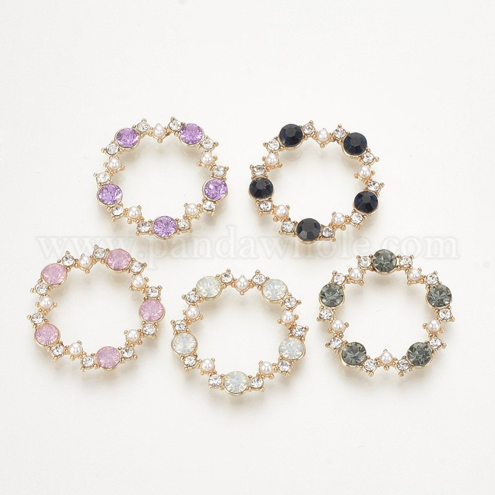 Environmental Alloy Linking Rings, with Resin Rhinestone & ABS Plastic  Imitation Pearl Beads, Nickel Free