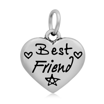 316 Stainless Steel Enamel Pendants, Heart with Word Best Friend, 16.5x17x4mm, Hole: 5mm-1
