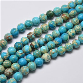 Natural Regalite/Imperial Jasper/Sea Sediment Jasper Beads Strands, Round, Dyed