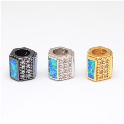 Brass Micro Pave Cubic Zirconia European Beads, with Synthetic Opal, Hexagon Large Hole Beads-1