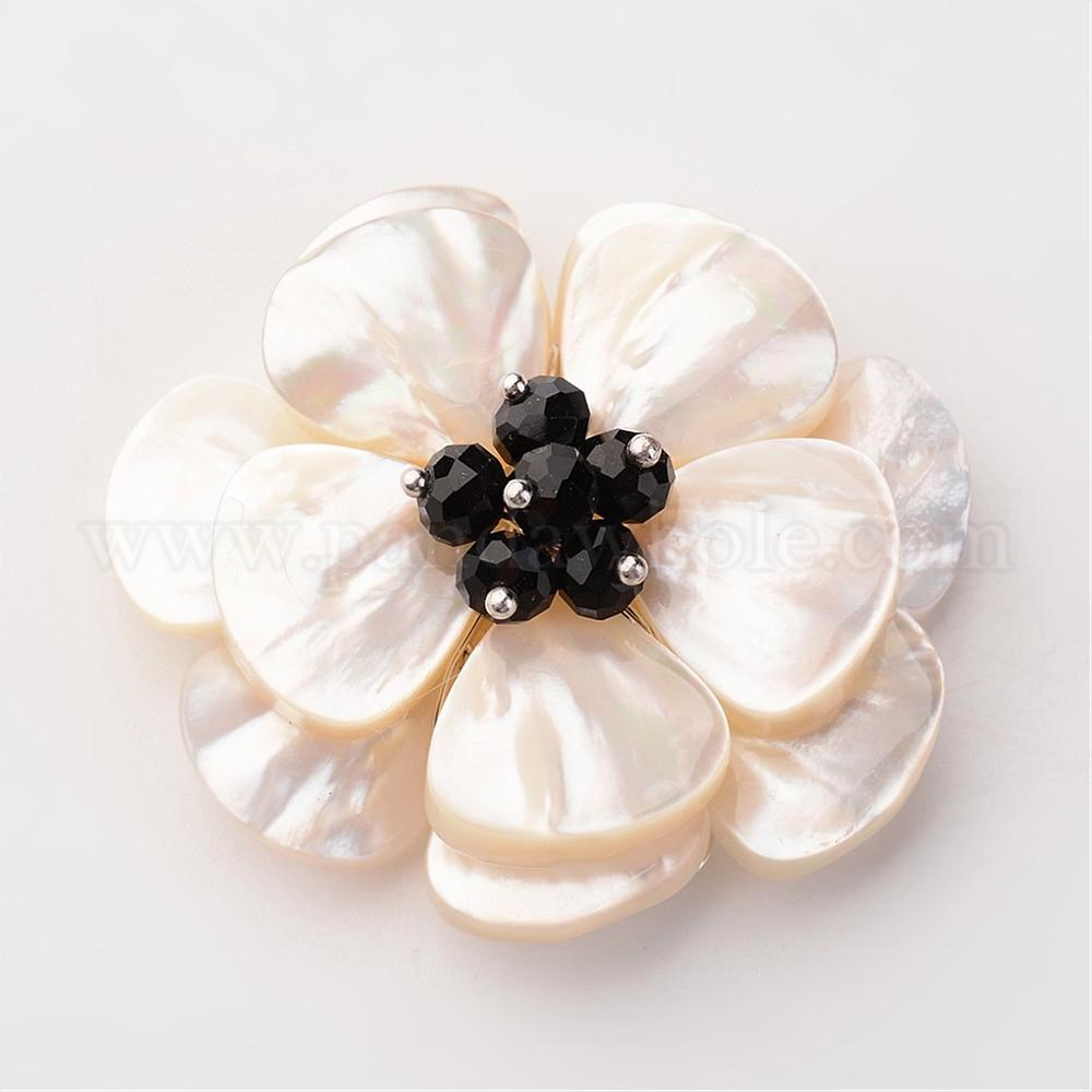 Wholesale white shell pendants flower with glass beads and brass white shell pendants flower with glass beads and brass findings platinum 44 aloadofball Image collections