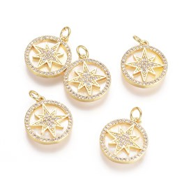 Brass Micro Pave Cubic Zirconia Pendants, with Jump Rings and Shell, Flat Round and Twinkling Star, Clear