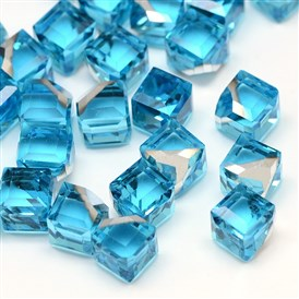 No Hole Faceted Cube Glass Cabochons for Stud Earrings Making, with Silver Plated Bottom, 6x6x6mm