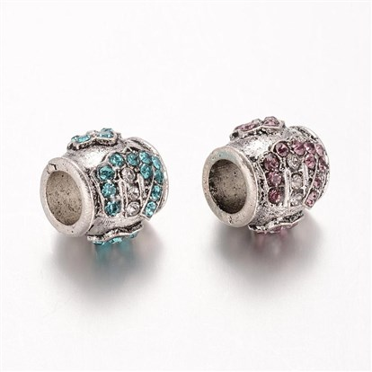 Alloy European Beads, Glass Rhinestone Large Hole Beads, Barrel, 10x11.5mm, Hole: 5mm-1