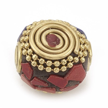Handmade Indonesia Beads, with Unplated Brass Findings, Flat Round-1