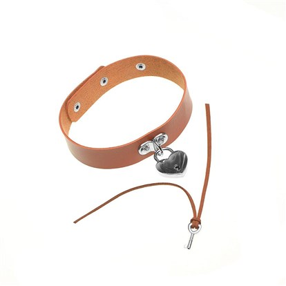 Imitation Leather Choker Necklaces, with Lock and Key-1