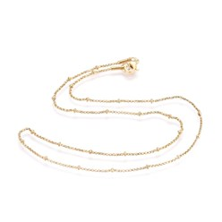 "Golden 304 Stainless Steel Box Chain Necklaces, with 304 Stainless Steel Beads and Clasps, Golden, 17.8""(45.3cm); 1.2mm"