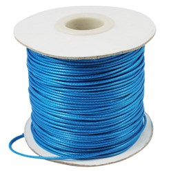 DeepSkyBlue Korean Waxed Polyester Cord, Bead Cord, DeepSkyBlue, 0.8mm; about 185yards/roll